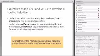 Download Making best use of the FAO/WHO Codex Diagnostic Tool - Webinar/Seminar Video