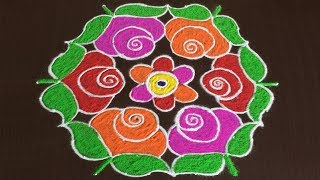 Download BEAUTIFUL ROSE FLOWERS RANGOLI DESIGNS FOR SANKRANTI WITH 13 TO 7 Video