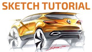 Download #1 Sketch and Rendering Tutorial by Adonis Alcici - SUV Rear View Video