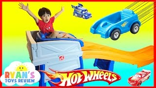 Download STEP2 ROLLER COASTER HOT WHEELS EXTREME THRILL COASTER Ride On Car Toys for Kid Ryan ToysReview Video