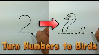 Download Very Easy ! How to turn Numbers 1-5 into the cartoon birds step by step - art game on paper for kid Video