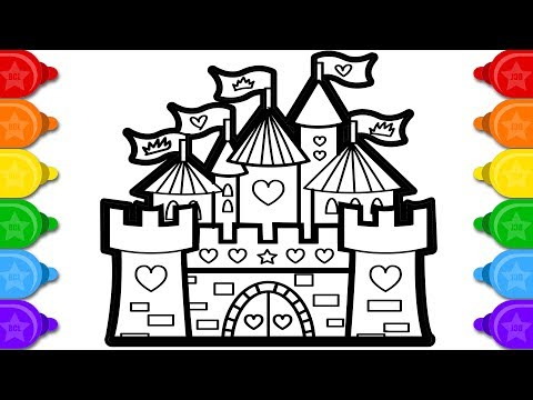 Glitter castle learn coloring and drawing for kids | learn how to draw glitter castle coloring page