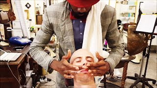 Download Old School Senegalese Barber - Face shave with shavette - ASMR video Video