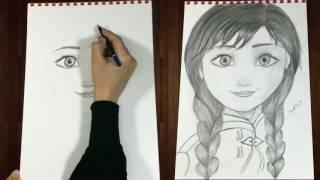 Download تعليم رسم شخصية آنا - من فيلم أميرة الثلج | دينا مجدي - رسوماتنا Draw Anna frozen step by step Video