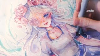 Download Manga watercolor Speedpainting - No Lineart challenge Video