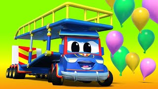 Download Truck videos for kids - VALENTINE'S DAY : Super CARRIER TRUCK saves the BALLOON DROP - Super Truck Video