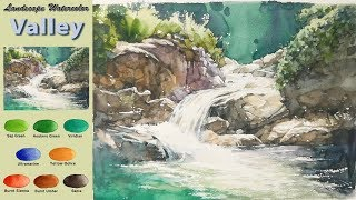 Download Valley- Drawing Landscape Watercolor. (wet-in-wet. Fabriano rough) NAMIL ART Video