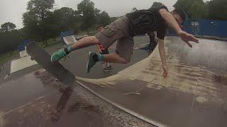 Download Skateboarding a wet mini-ramp Video