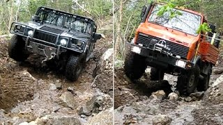 Download UNIMOG vs HUMMER Extreme OFFROAD testing the same STEEPY, MUDDY with BIG ROCKS HILL Video