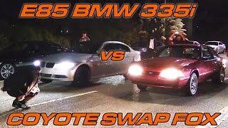 Download E85 BMW 335i vs Coyote Swapped Foxbody with Nitrous Video