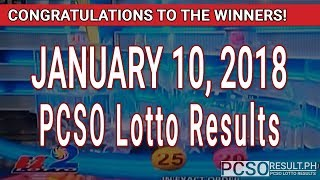 Download PCSO Lotto Results Today January 10, 2018 (6/55, 6/45, 4D, Swertres, STL & EZ2) Video