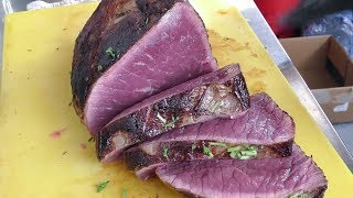 Download Huge Roast Beef, Flowing Melted Cheese, Roasted Potatoes. Street Food at Greenwich Market, London Video