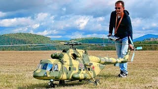 Download STUNNING GIGANTIC XXXL Mil Mi-8 AMT RC TURBINE SCALE MODEL RUSSIAN HELICOPTER FLIGHT DEMONSTRATION Video