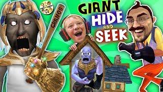 Download GRANNY's HOUSE Hide 'n Seek! HELLO NEIGHBOR GIANT vs MINI THANOS (FGTEEV Funny Game Challenge) Video