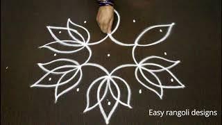 Simple Flowers Kolam Designs With 5 3 Middle Chukkala Muggulu With