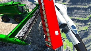 Download BeamNG drive - Can We Push An Airplane & School Bus From The Cliff With Cars Video