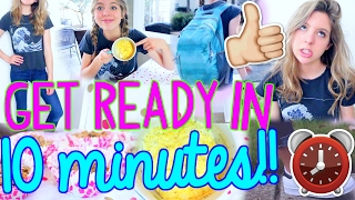 Download How to Get Ready for School in 10 MINUTES!! | Fast Outfit, Makeup, Hair + Breakfast! Video