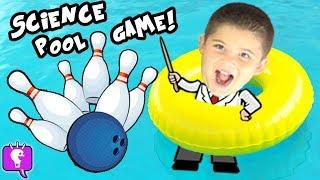 Download BOWLING Ball Pool FUN Challenge! Sink or Float? Cut Open Ball HobbyKidsTV Video