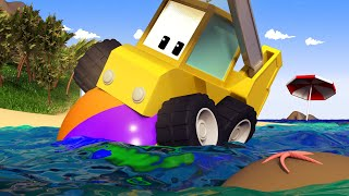 Download The Beach Party - Tiny Trucks for Kids with Street Vehicles Bulldozer, Excavator & Crane Video