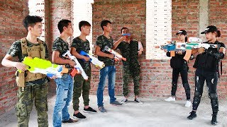Download 3T Nerf War : Squad Alpha Twin Sisters Nerf guns Escape Spectacular Crime Base Video