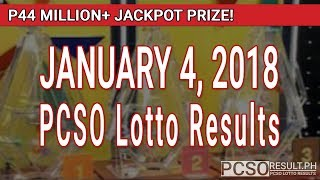 Download PCSO Lotto Results Today January 4, 2018 (6/49, 6/42, 6D, Swertres, STL & EZ2) Video