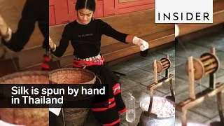 Download Silk is spun by hand in Thailand Video