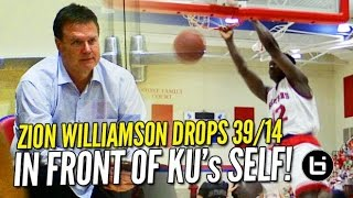 Download Zion Williamson Bullies His Way to 39 & 14 in Front of KU's Bill Self! Raw Highlights! Video