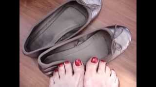 Download My Bronze Well Worn Ballerina Flats for toe and foot lovers Video