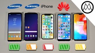 Download Samsung Note 9 vs S9+ / iPhone X / OnePlus 6 Battery Life DRAIN TEST Video