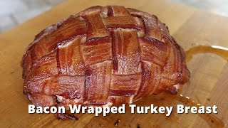 Download Bacon Wrapped Turkey Breast | Smoked Boneless Turkey Breast on Big Green Egg Video