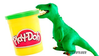 Download Dinosaurs Play doh Stop Motion T-Rex Dinosaur animation Tyrannosaurus Rex dinosaur toy eggs Jurassic Video