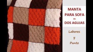 Download Como tejer una manta de sofá con punto teja pequeña a dos agujas-LABORES Y PUNTO- Video