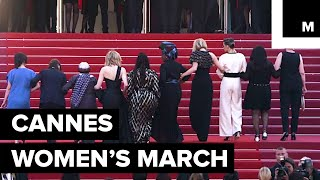 Download 82 Women Walked This Year's Cannes Red Carpet In Protest, Calling For Gender Equality Video