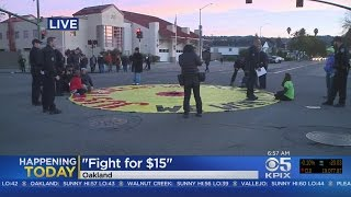 Download Workers Seeking $15 Minimum Wage Protest In Oakland Video