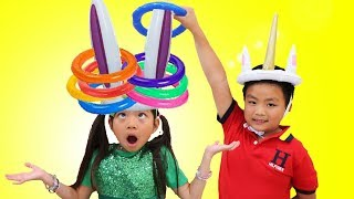 Download Emma Pretend Play Learn Colors w/ Fun Colored Inflatable Kids Toys Video