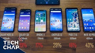 Download iPhone X vs Galaxy S8 vs Note 8 vs OnePlus 5T vs Mate 10 Pro - Battery Drain Test! | The Tech Chap Video