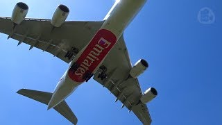 Download Special Emirates A380 ″Expo 2020″ overhead crosswind Landing with blue Sky - 2 h Plane spotting Video