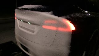Download Snow buildup on Model X and trailer Video