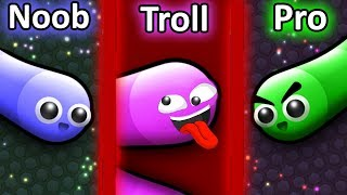 Download NOOB vs PRO vs TROLL in Slither.io Video