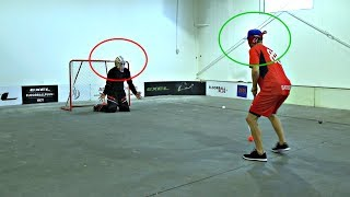 Download KANE VAN GATE vs. PAVEL BARBER | Blindfolded Floorball Shootout Video