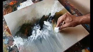 Download Abstract painting / Using plastic wrap, cloth and palette knife / Acrylics / Demonstration Video