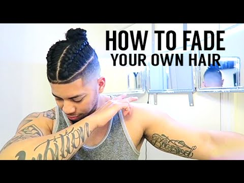 💈 HOW TO FADE YOUR OWN HAIR! SAMURAI BRAIDED TOP KNOT/ MAN BUN
