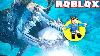 Download ESCACPE THE GIANT MEGALODON IN ROBLOX! Video