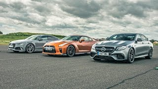 Download Nissan GT-R vs Audi RS7 vs Merc E63 AMG - Drag Races - Top Gear Video