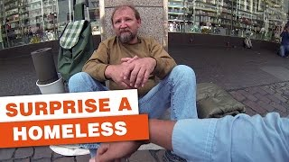 Download Three German students surprise a homeless guy Video