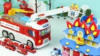 Download 뽀로로 변신소방차 구조대 장난감 총출동! 미니카 사다리차 헬리콥터 자동차 정비소 미끄럼틀 놀이 Toy Fire engine Fire Truck and Fire Station Video