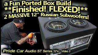Download Ported Box Build FINISHED! 2 MASSIVE Russian 12″ Carbon Fiber Subwoofers FLEXED! TEST DRIVE! Video
