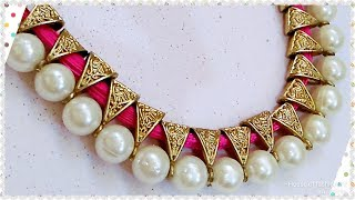 Download How To Make Antique Silk thread Necklace//Pearl Jewellery..! Video