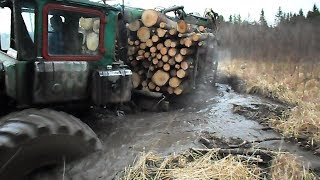 Download Homemade forwarder, difficult road Video