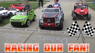 Download Power Wheels Driveway Racing with Fan Who Finds Us | KidTraxx Sportrax Peg Perego Vehicle Collection Video